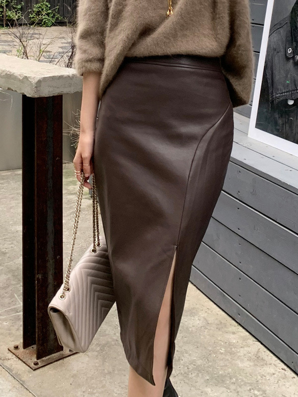 smooth leather skirt (3color)